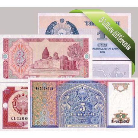 Ouzbekistan : Bel ensemble de 5 billets de banque de collection.