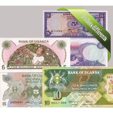 Ouganda - Collection de 5 billets de banque tous différents.