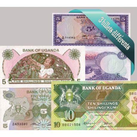 Ouganda - Collection de 3 billets de banque tous différents.