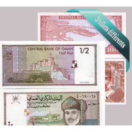 Oman - Collection de 3 billets de banque tous différents.