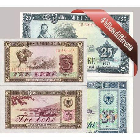 Albanie - Collection de 4 billets de banque tous différents.