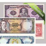 Ecuador - Sammlung von 5 verschiedenen aller Banknoten
