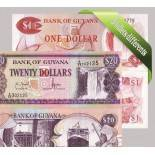 Guyane - Collection de 5 billets de banque tous différents.