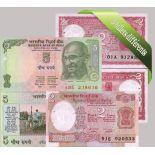 Inde : Bel ensemble de 5 billets de banque de collection.