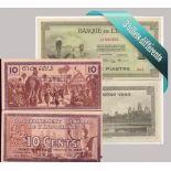 Indochine - Collection de 3 billets de banque tous différents.