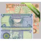 irak: Hermoso conjunto de 5 colección de billetes de banco.