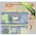 iraq: Beautiful set of 5 collection of bank notes.