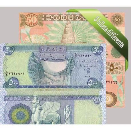 Irak : Bel ensemble de 5 billets de banque de collection.