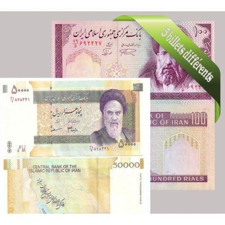 Iran - Collection de 5 billets de banque tous différents.