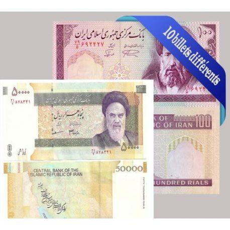 Belle collection de 10 billets de banque tous différents de Iran