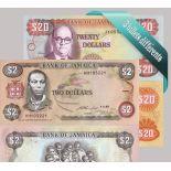 Jamaique : Bel ensemble de 3 billets de banque de collection.