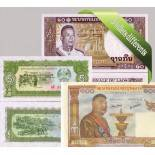 Laos: Beautiful set of 5 collection of bank notes.