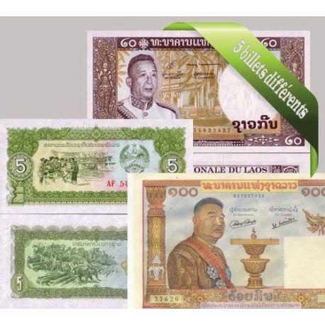 Laos : Bel ensemble de 5 billets de banque de collection.