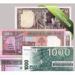 Liban - Collection de 5 billets de banque tous différents.