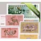 Lituanie : Bel ensemble de 5 billets de banque de collection.
