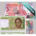 Madagascar: Hermosa colección conjunto 3 de billetes de banco.