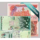 Malaisie - Collection de 3 billets de banque tous différents.