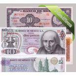 Mexique - Collection de 5 billets de banque tous différents.