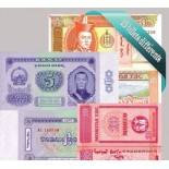 Belle collection de 15 billets de banque tous différents de Mongolie