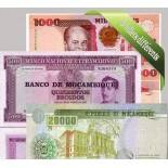 Mozambique: Beautiful set of 5 collection of bank notes.