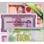 Mozambique : Bel ensemble de 5 billets de banque de collection.