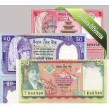 Nepal- Bella serie di 5 raccolta di banconote