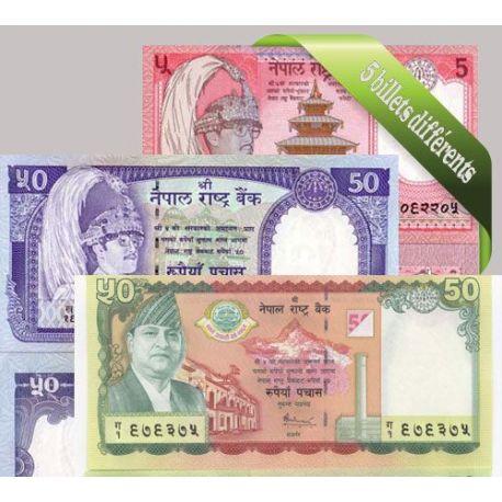 Nepal : Bel ensemble de 5 billets de banque de collection.