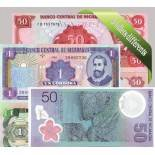 Nicaragua : Bel ensemble de 5 billets de banque de collection.