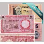 Nigeria : Bel ensemble de 3 billets de banque de collection.