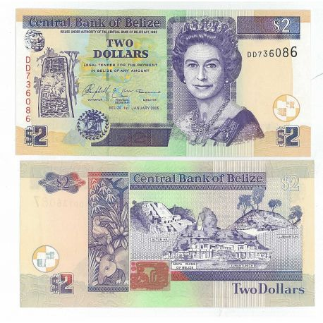 Billets de collection Billet de banque Belize Pk N° 66 - 2 Dollars Billets de Belize 5,00 €