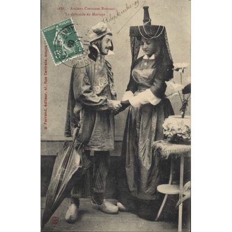 Carte postale 01 - Anciens costumes bressans - Demande en mariage
