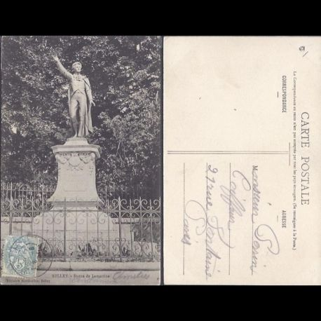 Carte postale 01 - Belley - Statue Lamartine - 2