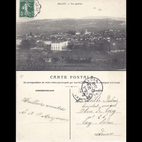 Carte postale 01 - Belley - Vue generale - 1907