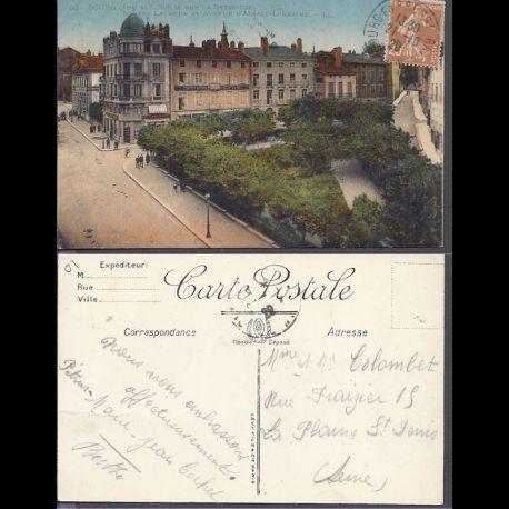 Carte postale 01 - Bourg - Square Lalande et avenue d'alsace lorraine
