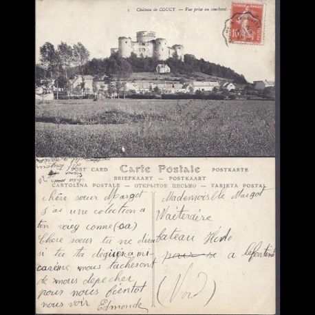 Carte postale 02 - Chateau de Coucy - Vue prise au couchant
