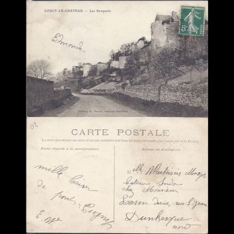 Carte postale 02 - Coucy le Chateau - Les remparts