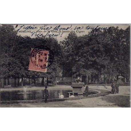03 - Moulins - Place de la gare - Le bassin des Cignes - Voyage - Dos divise...