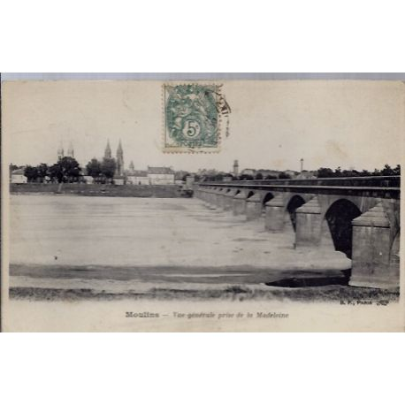 03 - Moulins - Vue generale prise de la Madeleine - Voyage - Dos divise...