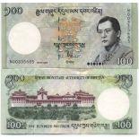 Los billetes de banco Bhután Pick número 32 - 100 Ngultrum 2006
