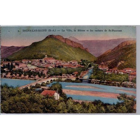 Carte postale 04 - Dignes-les-bains - La ville - La Bleone et les rochers de St Pancrace -...