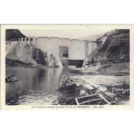 Carte postale 05 - Vestige au fond du lac du Chambon