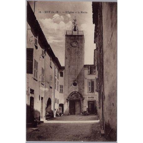 06 - Biot - L'eglise et la Mairie - Non voyage - Dos divise...