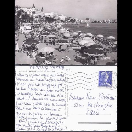 06 - Cannes - La plage - CPSM animee