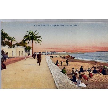06 - Cannes - Plage et promenade du Midi - Non voyage - Dos divise...