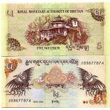 Precioso de billetes Bhután Pick número 28 - 5 Ngultrum 2006