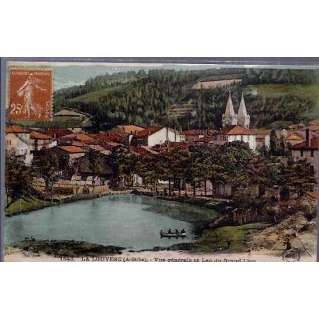 Carte postale 07 - La Louvesc ( Ardeche ) - Vue generale et lac du grand Lieu - Voyage - Dos