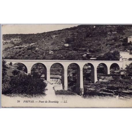 Carte postale 07 - Privas - Pont de Bourdely - Voyage - Dos divise...
