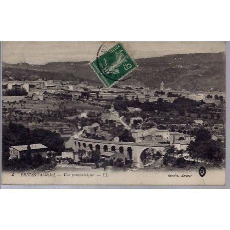 Carte postale 07 - Privas - Vue panoramique - Voyage - Dos divise...