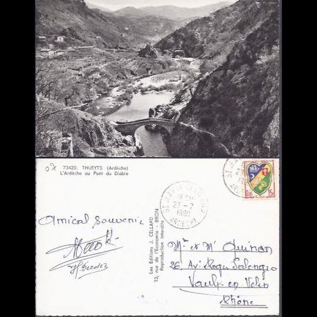 Carte postale 07 - Thueyts - L'ardeche au pont du Diable - CPSM