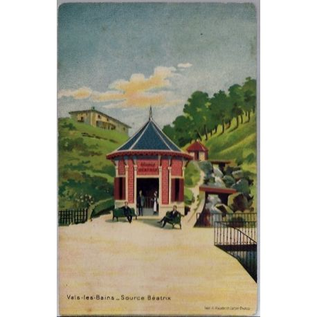 Carte postale 07 - Vals-les-bains - Source Beatrix - Voyage - Dos divise...
